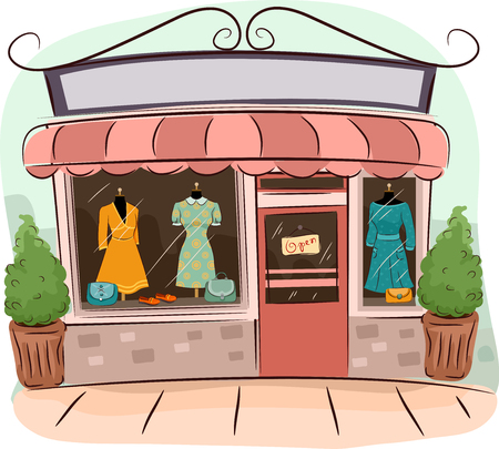 shop window: Illustration of Boutiques Selling Vintage Clothes Stock Photo