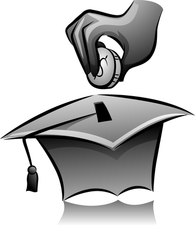 thrift: Illustration of a Man Dropping a Coin in a Graduation Cap