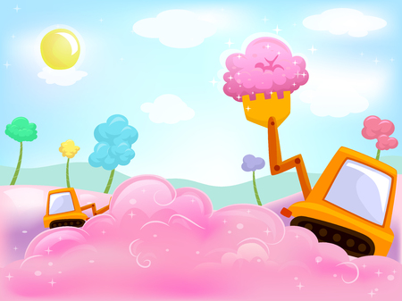 cotton candy: Illustration of a Payloader Scooping Cotton Candy - eps10