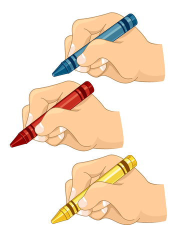 schooler: Illustration of Kids Drawing with Crayons