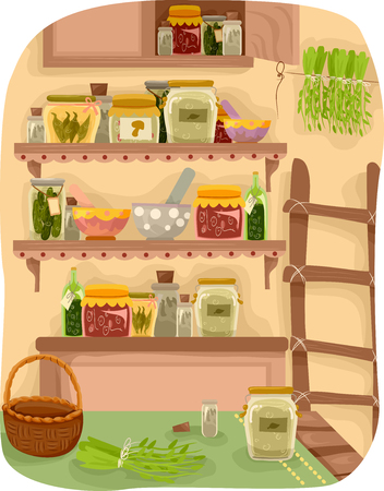 food storage: Illustration Featuring a Room Full of Herbs Stock Photo