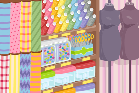 featuring: Illustration Featuring a Textile Shop