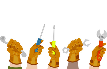 laborers: Illustration of Manual Laborers Holding Mechanical Tools Stock Photo