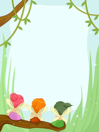 Fairies: Frame Illustration Featuring Cute Little Fairies