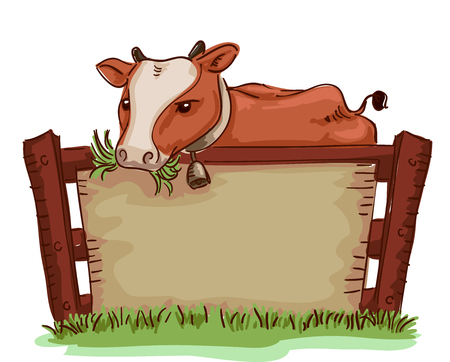 chew: Board Illustration of a Cow Chewing Grass