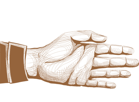 politeness: Illustration of an Outstretched Hand Stock Photo