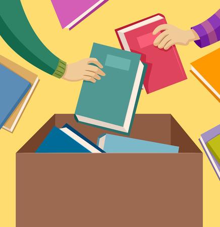 generosity: Illustration of People Donating Used Books