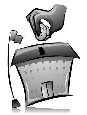 thrift: Illustration of a Man Dropping a Coin in a House Shaped Bank Stock Photo