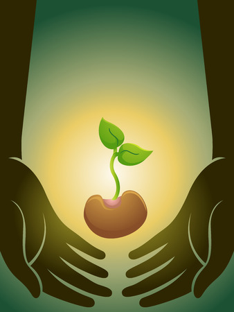 seedling: Illustration of a Person Lifting a Seedling