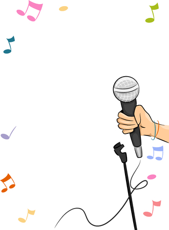 an illustration promoting: Border Illustration Promoting an Open Mic Session