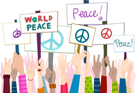 diversity: Illustration of People Rallying for Peace