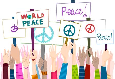 Illustrazione della gente di raduno per la pace Archivio Fotografico