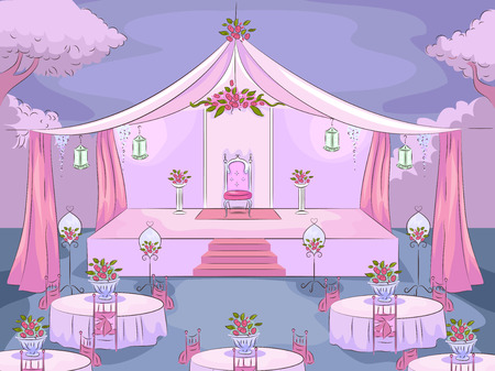 venue: Illustration Featuring the Venue of a Debut Party Stock Photo