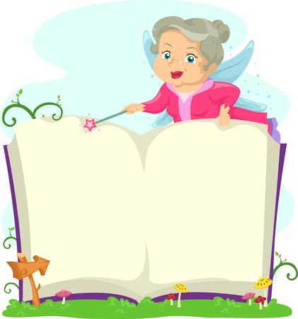 storyteller: Illustration of a an Elderly Fairy Opening a Book Stock Photo