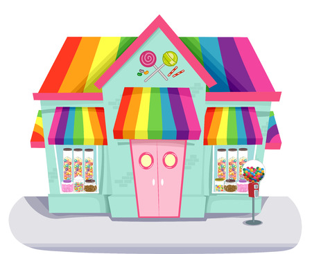 candy store: Illustration Featuring a Colorful Candy Store