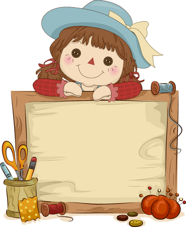art and craft: Illustration of a Rag Doll Sitting Behind a Wooden Frame