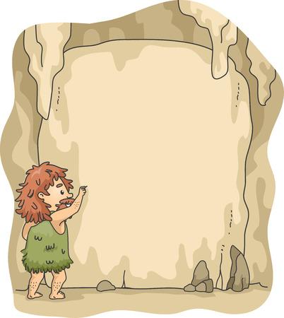 edad de piedra: Marco de la ilustración de un hombre de las cavernas escritura en paredes de la cueva Foto de archivo