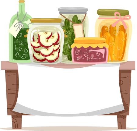 다른 보존 식품을 특징으로하는 배너 일러스트