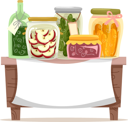 preserved: Banner Illustration Featuring Different Preserved Food