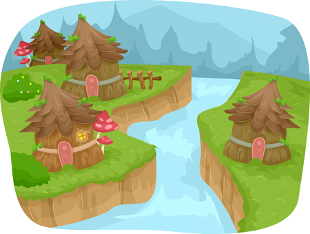 forest clipart: Whimsical Illustration Featuring a Fairy Village