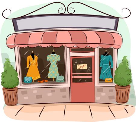 ビンテージの服を売っているブティックのイラスト