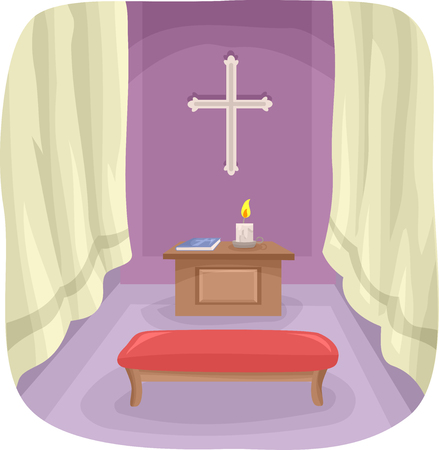 altar: Illustration Featuring a Simple Prayer Room