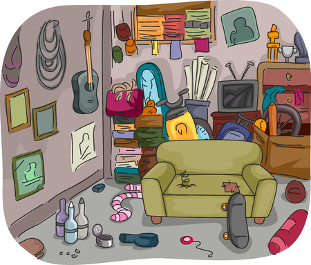 disorganized: Illustration of a Room Full of Clutter