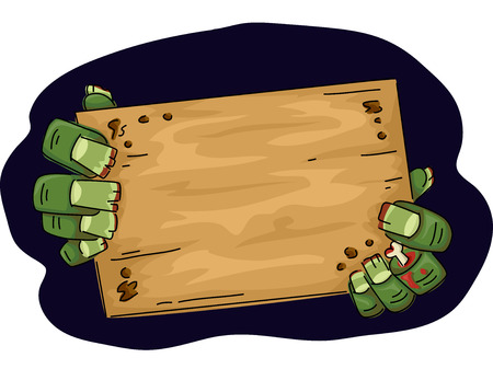 gloom: Illustration of a Zombie Holding a Wooden Board Stock Photo