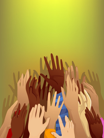 Pleading: Illustration of a Crowd of Refugees with Their Arms Raised Stock Photo