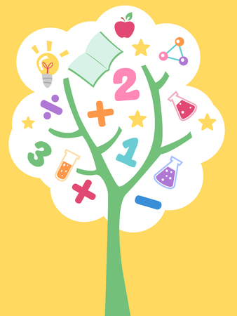 grade schooler: Illustration of a Tree Filled with Education Related Items