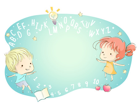 niño preescolar: Ejemplo caprichoso de niños rodeado de letras del alfabeto