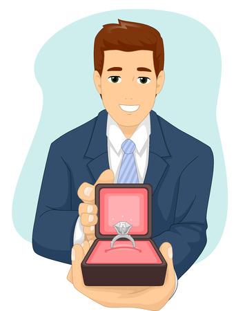 Ilustración de un hombre que presenta un anillo de compromiso