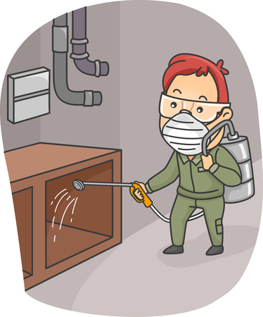 man illustration: Illustration of a Man Spraying Pesticides