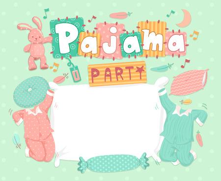 pijamada: Ilustración de la tipografía para una fiesta de pijamas