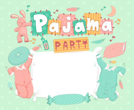 sleepover: Typography Illustration for a Pajama Party