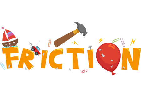 traction: Typography Illustration Featuring the Word Friction Stock Photo