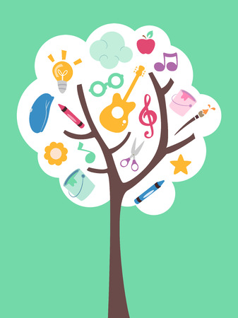 arts: Illustration of a Tree Filled with Music and Art Related Items