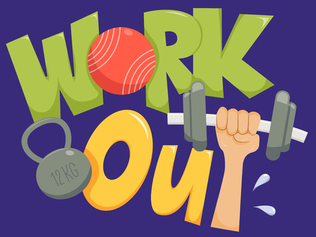muscle gain: Typography Illustration Featuring the Phrase Work Out Stock Photo