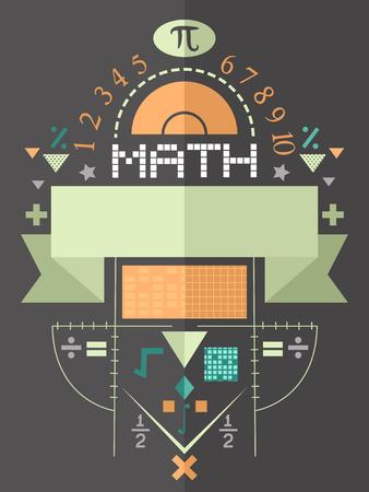 simbolos matematicos: Cartel Ilustración con símbolos de la matemáticas Foto de archivo
