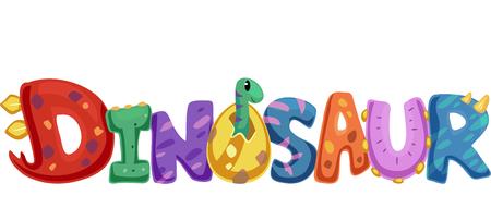 Typography Illustration Featuring the Word Dinosaur