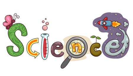 Typografie Illustration mit dem Wort Wissenschaft