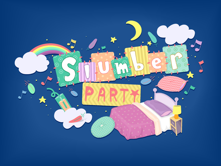 slumber party: Typography Illustration for a Slumber Party