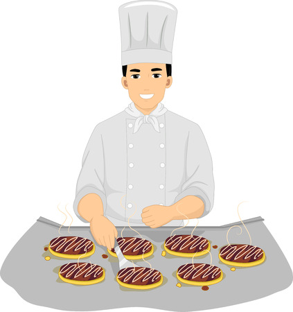 culinary arts: Illustration of a Male Chef Cooking Okonomiyaki