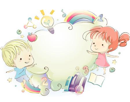 educativo: Ilustración de niños rodeado de materiales educativos