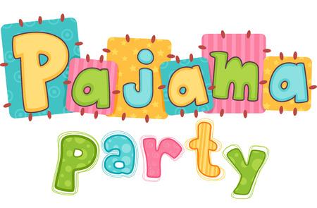Typografie Illustratie die de uitdrukking Pajama Party Stockfoto