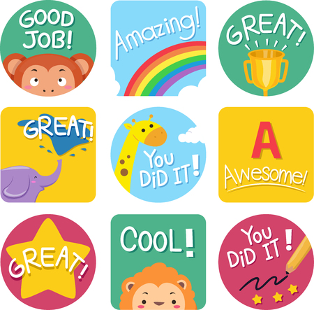 achievement clip art: Illustration of Ready to Print Achievement Labels Stock Photo