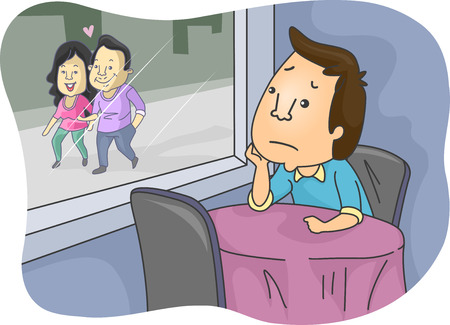 envy: Illustration of a Lonely Man Looking at a Lovey Dovey Couple