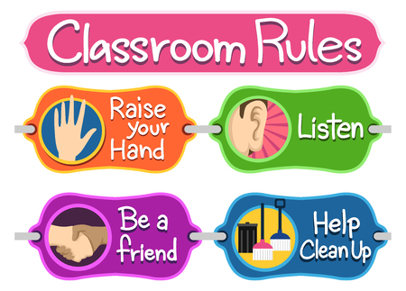 classrooms: Illustration of Ready to Print Labels of Classroom Rules