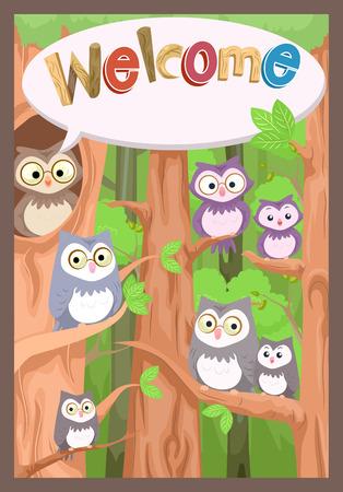 a bulletin board: Illustration of a Bulletin Board Featuring a Family of Owls