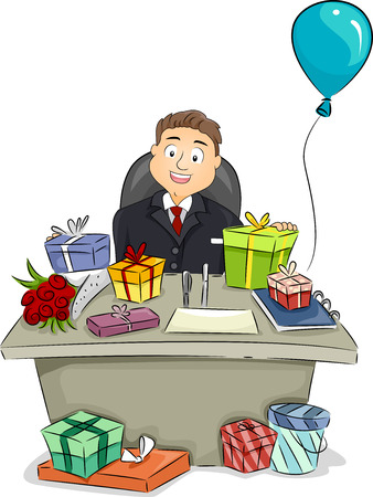 bash: Illustration of a Businessman Sitting Behind a Table Full of Presents Stock Photo